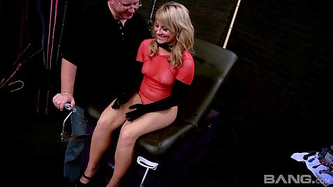 Fetish scene with blonde girl Casey Cumz getting tied to a chair