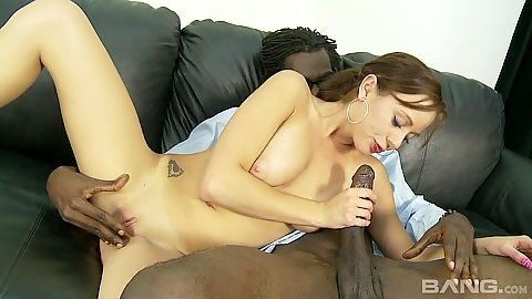 Blowjob and pussy slamming with young Mae Meyers in interracial