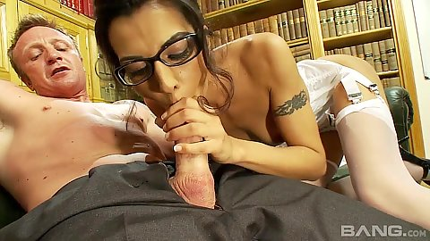 Cock munching brunette Lou Charmelle is a librarian with sex addiction
