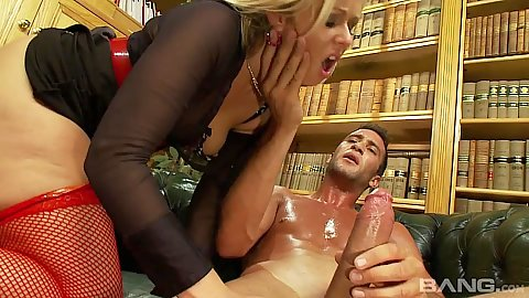 Heated librarian in fishnet bang with blonde Anna Joy