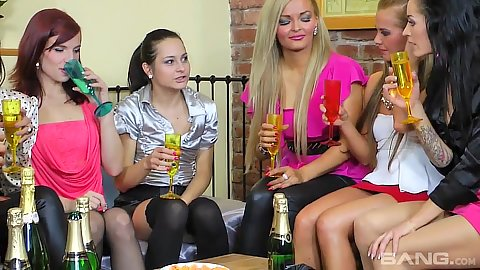 Group of fully clothed lesbians Victoria Puppy and Adele Sunshine with Lara Sweet at party