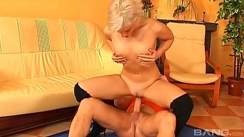 Overwhelming reverse cowgirl small boobs sex with blonde Dana