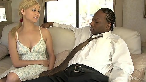 Enthusiastic blondie Sadie Sable is a black cock virgin no more