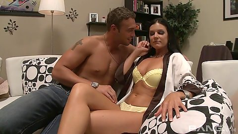 Bras and panties goddess milf India Summer makes out with younger male