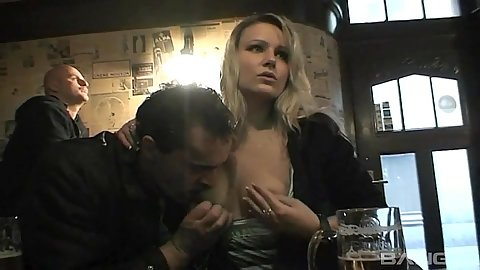 Amateur Czech Ingrid getting her tits and pussy touched in public bar