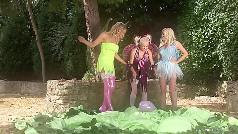 Outdoor fairy tale lingerie Michelle Thorne and Cindy Behr and Starr