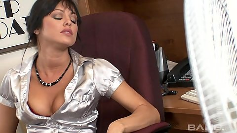 Playful secretary spreads legs to get eaten in her office chair with Sadie West