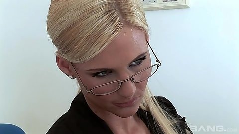 Temping blonde milf in glasses Phoenix Marie gets naked and gives head
