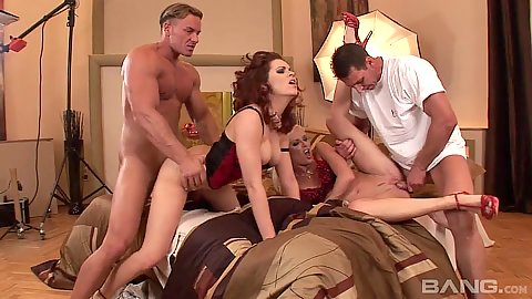 Group fuck foursome with some anal Laura Fire and Honey Winter