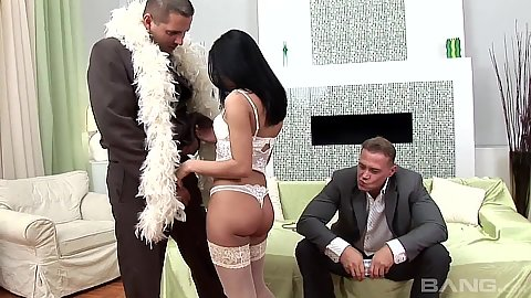 Fresh lingerie Coreena in stockings sucking two men in suits