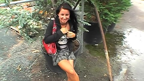 Amateur Renata in public gets some money for sexual favours and smiles