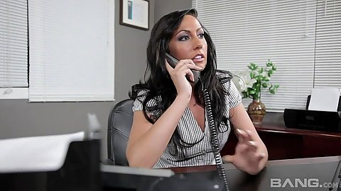 Fully clothed secretary Tiffany Brookes vibrating in office