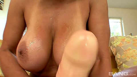 Stroking her huge sex toy with big boobs milf Persia Monir