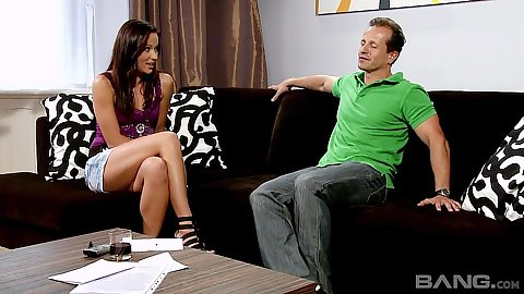 Audition video with fully clothed Viky Sanders letting man touch her