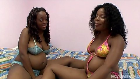 Two bikini black pregnant maniacs makeout