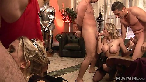 Screwing and sucking orgy with lingerie whore Sasha Rose and Denice K and Jamie Brooks