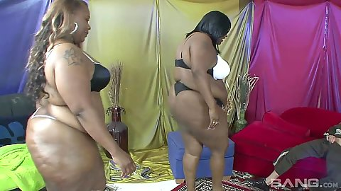 Bbw ebony in bras and panties sharing a white dick