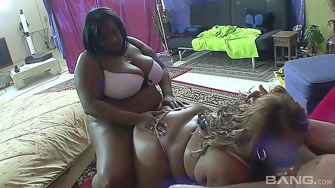 Two chubby black girls suck white cock in 2 on 1