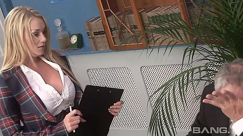 On fire fully clothed blondes Antonia Deona and Emma Butt in office