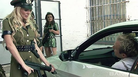 Fully clothed in army uniform Jordan Kingsley and Alexa Andreas and orgy