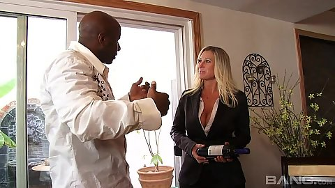 Blonde milf fully clothed Devon Lee has dinner
