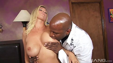 Daring milf Devon Lee in interracial bed make out