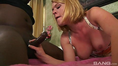 Black cock white milf blowjob and pile driver on bed from Krissy Lynn