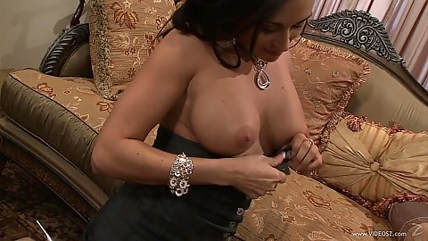 Large chested milf Claudia Valentine front sex on sofa