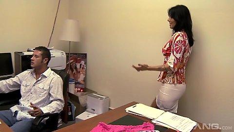 Naughty office worker latina milf Zoey Holloway seduces man