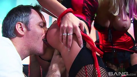 Fishnet ass licking orgy with Nataly D and Gabriela Glazer