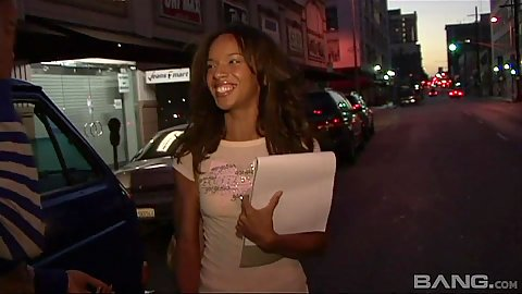 Great looking skinny 18 year old black girl in public with Nina Cole