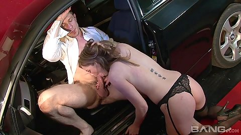 Car blowjob with redhead slut Holly Kiss and reverse cowgirl