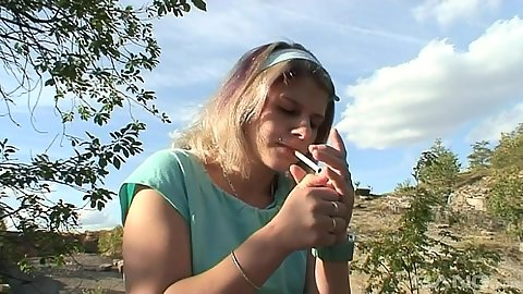 Having a smoke with 18 year old Tyna and getting licked