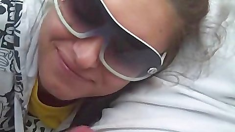 Slut in her sunglasses sucking penis and swallow