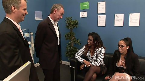 Office group action with Romana Ryder and Jasmine Webb in white cock blac kgirls