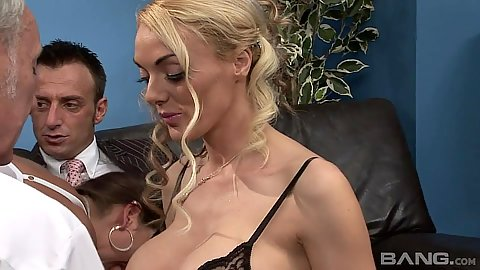 Blonde Antonia Deona and Dani Amour her friend sucking some shaft in office