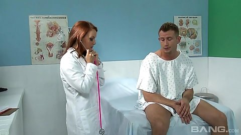 Jawdropping redhead doctor gives head to patient Janet Mason