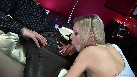 Skanky blonde sucking and fucking half dressed Lolly Blond