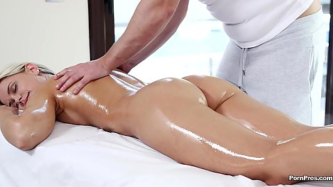 Erotic oil massage and pussy touching from Lola