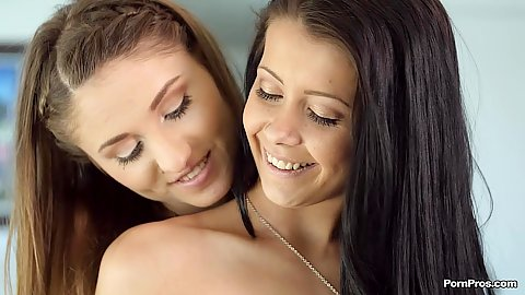 Alaina Kristar and Shiloh Sharada showing off cute teen smiles and lesbian undressing