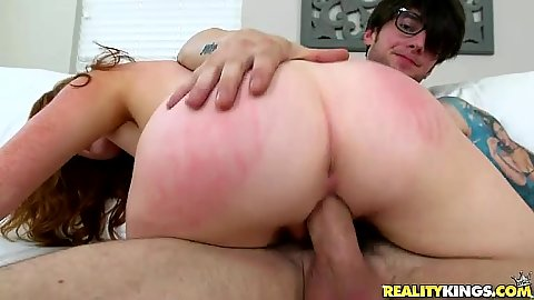 Spanking her booty during sex to make it red with first time Ginger Rose