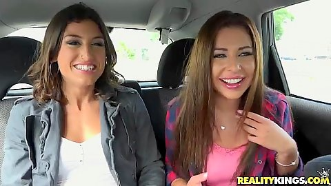 Backseat making out and flashing pussy chicks Julia Roca and Ally Breelsen