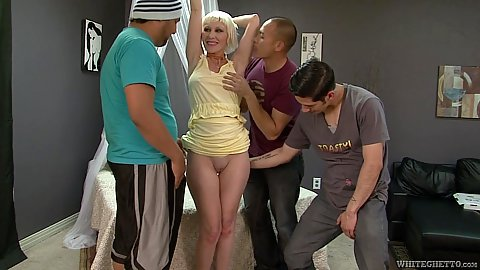 Blonde mature mom Dalny Marga comes in for a gang bang