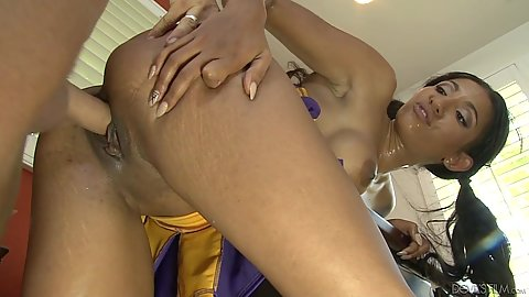 Doggy style shaved pussy sex in teachers office with naughty black cheerleader Sadie Santana