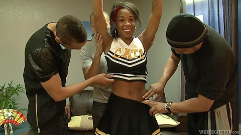 Ebony cheerleader raising her arms for armpit licking then group blowjob sd 1