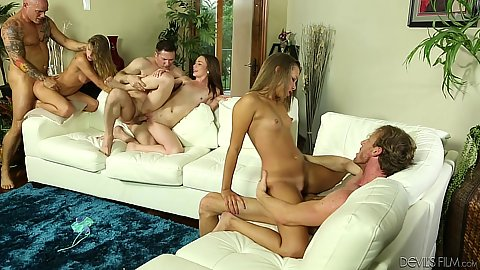 Cock sitting and nice swinger slut bang with Emma Ryder an Sydney Cole and Liz Rowe