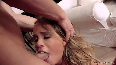 College Alexis Adams gets head pushed in while sucking dick and cowgirl