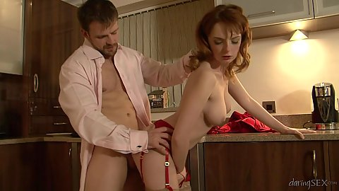 standing fuck with redhead Lola Gatsby over kitchen table