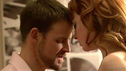 Making out with good looking redhead Lola Gatsby and fuck on chair