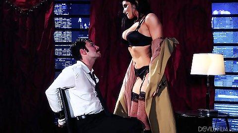 Pornstar Romi Rain has man tied to a chair